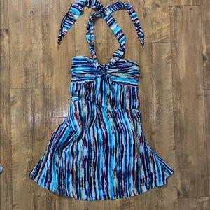 Maxi flowy colorful strapless/halter tie dress.